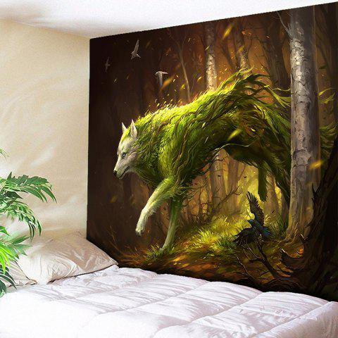 Animal Wall Hanging Forest Wolf Printed Tapestry - BROWN W59 INCH * L59 INCH