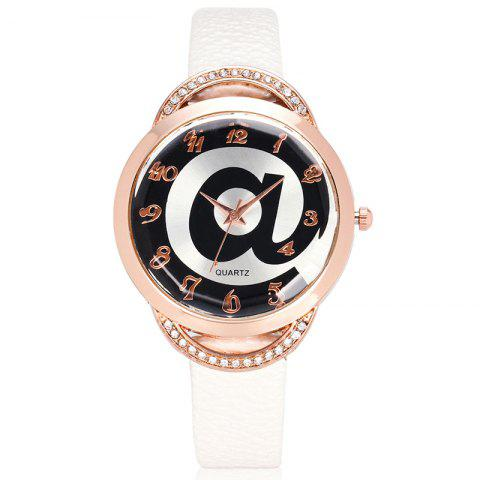 Symbol Face Faux Leather Number Watch - WHITE