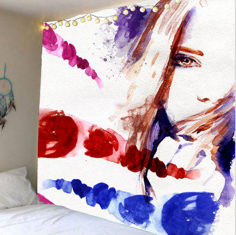 Oil Painting Girl Wall Hanging Tapestry - COLORFUL W79 INCH * L71 INCH