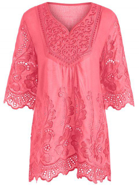 V Neck Embroidered Plus Size Blouse - WATERMELON RED 2XL