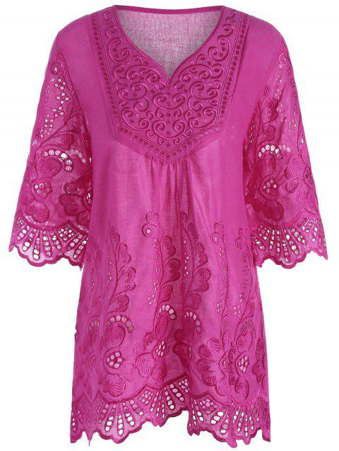 V Neck Embroidered Plus Size Blouse - ROSE RED 4XL