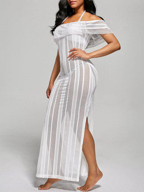 Off The Shoulder Mesh Cover Up Maxi Dress - WHITE XL