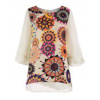 Plus Size Printed Chiffon Pleated Top