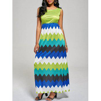 Sleeveless Zig Zag Color Block Long Dress - MINT S