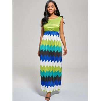 Sleeveless Zig Zag Color Block Long Dress - S S