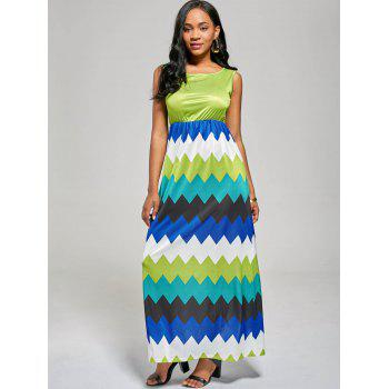 Sleeveless Zig Zag Color Block Long Dress - MINT XL