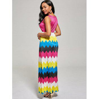 Sleeveless Zig Zag Color Block Long Dress - L L