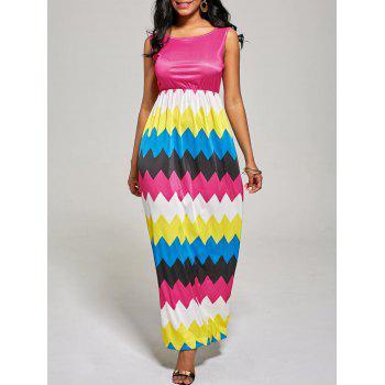 Sleeveless Zig Zag Color Block Long Dress - ROSE MADDER S