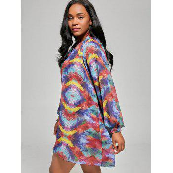 Chiffon Sheer Long Sleeve Cover Up Shift Dress - COLORMIX L