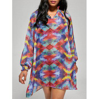 Chiffon Sheer Long Sleeve Cover Up Shift Dress - COLORMIX COLORMIX