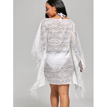 Fringed Cover Up Dress with Batwing Sleeve - M M