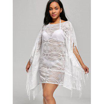 Fringed Cover Up Dress with Batwing Sleeve - L L