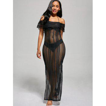 Off The Shoulder Mesh Cover Up Maxi Dress - BLACK S