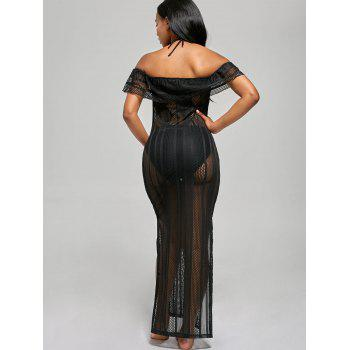 Off The Shoulder Mesh Cover Up Maxi Dress - BLACK BLACK