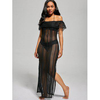 Off The Shoulder Mesh Cover Up Maxi Dress - BLACK XL