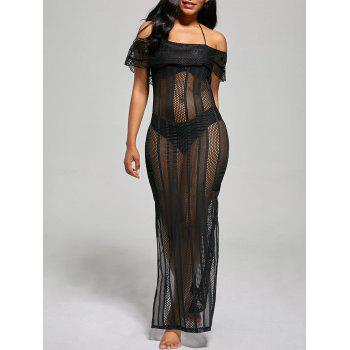 Off The Shoulder Mesh Cover Up Maxi Dress