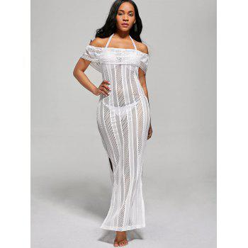 Off The Shoulder Mesh Cover Up Maxi Dress - XL XL