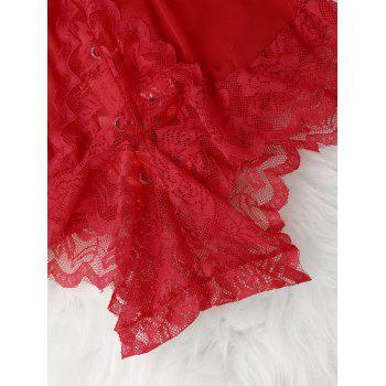 Lace Sheer Backless Teddy - RED ONE SIZE