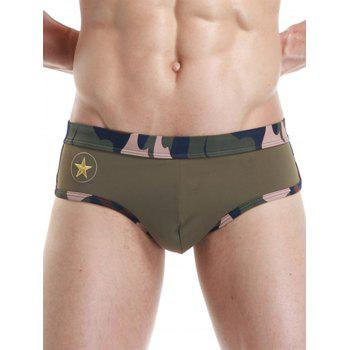 Star Embroidered Camouflage Panel Swimming Briefs - ARMY GREEN L