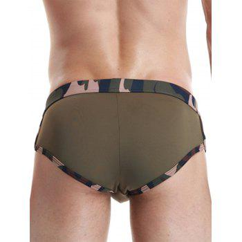 Star Embroidered Camouflage Panel Swimming Briefs - ARMY GREEN S