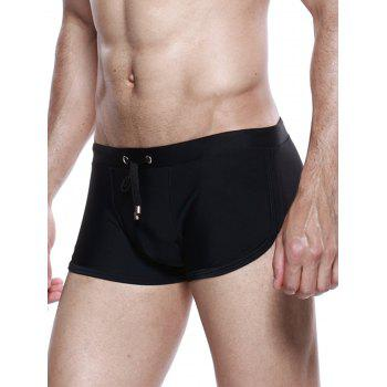 Drawstring Convex Pouch Panel Design Swimming Trunks - BLACK BLACK