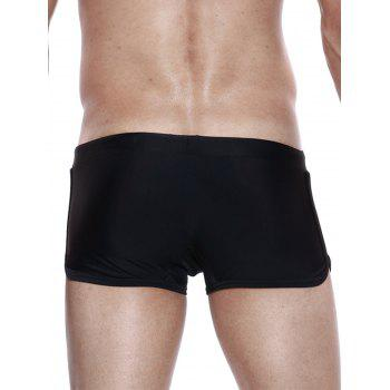 Drawstring Convex Pouch Panel Design Swimming Trunks - BLACK S