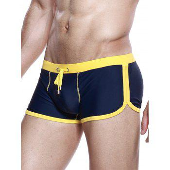 Drawstring Convex Pouch Panel Design Swimming Trunks - YELLOW YELLOW