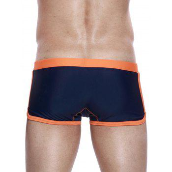 Drawstring Convex Pouch Panel Design Swimming Trunks - ORANGE S