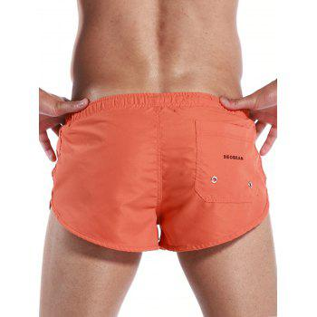 Drawstring Pocket Graphic Print Short de sport - Orange S