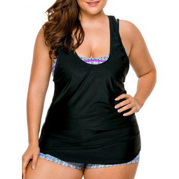 Strappy Cross Back Plus Size Tankini Set
