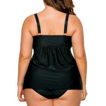 Plus Size Twist Tankini Set - BLACK 3XL