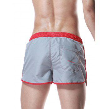 Drawstring Graphic Color Block Panel Sport Shorts - GRAY GRAY