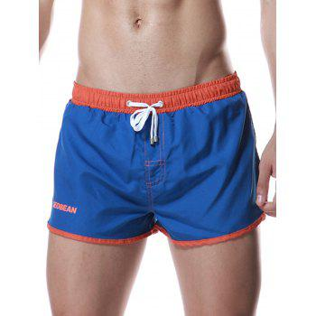 Drawstring Graphic Color Block Panel Sport Shorts