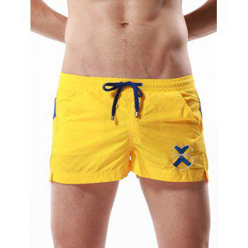 Badge Embroidered Drawstring Color Block Panel Shorts - YELLOW YELLOW