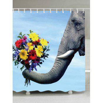 Elephant Flower Printed Fabric Shower Curtain