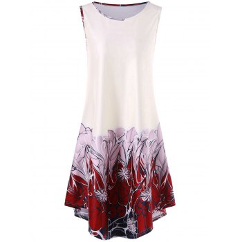 Floral Print Sleeveless Asymmetrical Dress