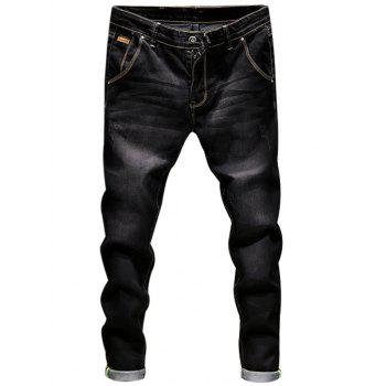 Ripped Zip Fly Skinny Cuffed Jeans