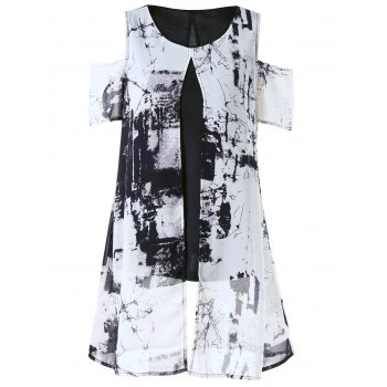 Cold Shoulder Ink Painting Slit Overlay Blouse
