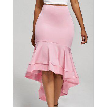 Ruffle Trim High Waisted High Low Skirt