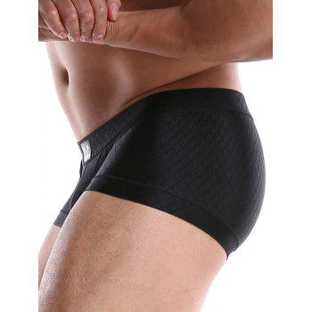 Fish Scale Pattern Mid Waist Trunks - BLACK L