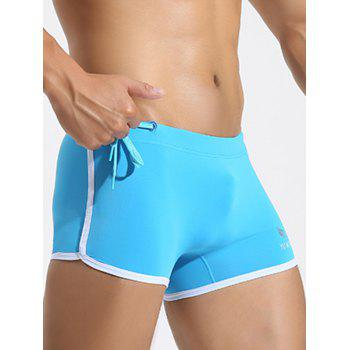 Side Drawstring Contrast Trim Swimming Trunks - BLUE BLUE