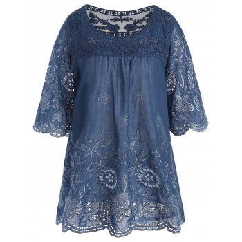 Embroidered Plus Size Long Top