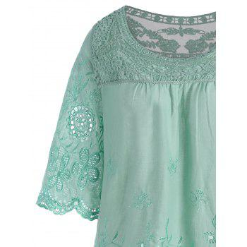 Embroidered Plus Size Long Top - LIGHT GREEN 3XL