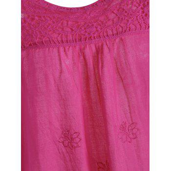 Embroidered Plus Size Long Top - ROSE MADDER 3XL