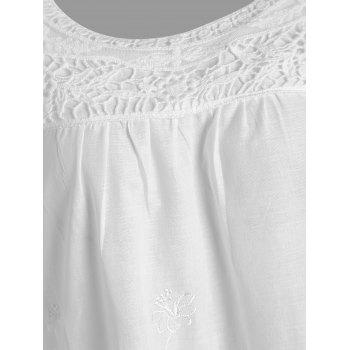 Embroidered Plus Size Long Top - WHITE 3XL