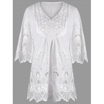 V Neck Embroidered Plus Size Blouse