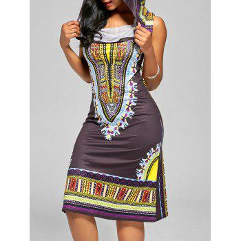 Hooded Neck African Style Midi Dress