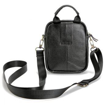 PU Leather Top Handle Crossbody Bag - BLACK
