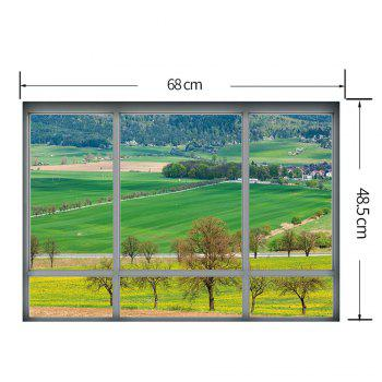Countryside View Vinyl 3D Wall Art Sticker - GREEN 48.5*68CM