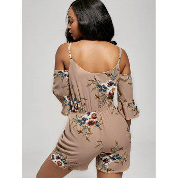 Floral Print Ruffle Cold Shoulder Romper - APRICOT S
